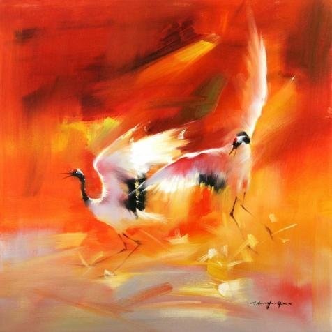 Oil Painting 'Red-Crowned Crane' Printing On Perfect Effect Canvas , 20x20 Inch / 51x51 Cm ,the Best Foyer Gallery Art And Home Decoration And Gifts Is This High Definition Art Decorative Prints On Canvas (Two Cranes)