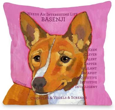 One Bella Casa Basenji 1 Pillow, 26 by 26-Inch