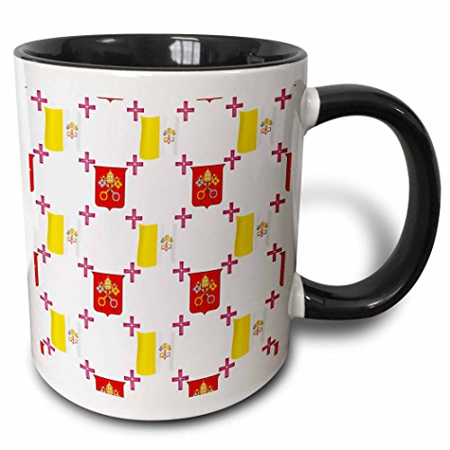 3dRose 777images Country Patterns - The flag and Coat of Arms of the Vatican City State on a light creme background - 15oz Two-Tone Black Mug (mug_114180_9)