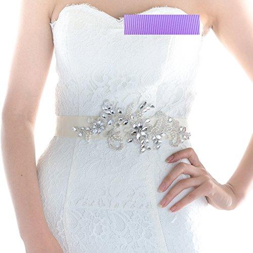 Top Queen Women's Diamonds Bridal Sash Belt Pearls Weddin...