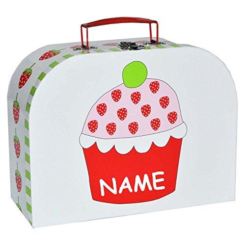 Kinderkoffer KLEIN - Erdbeere incl. Name - Pappkoffer - Puppenkoffer Koffer Kinder Pappe Karton Mädchen Frucht Autokoffer - ideal für Spielzeug und als Geldgeschenk