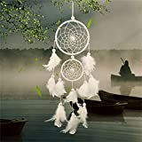 Buytra Dream Catcher Handmade Circular Net with Feathers for Wall Car Hanging Decoration Ornament Craft Gift, White