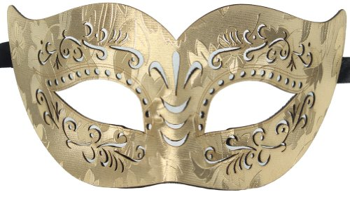 Cheap Masquerade Masks For Men (RedSkyTrader Mens Bonded Leather Venetian Mask One Size Fits Most Gold)