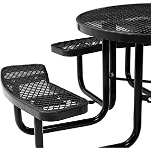 "Global Industrial 46"" Expanded Metal Round Picnic Table, Black"