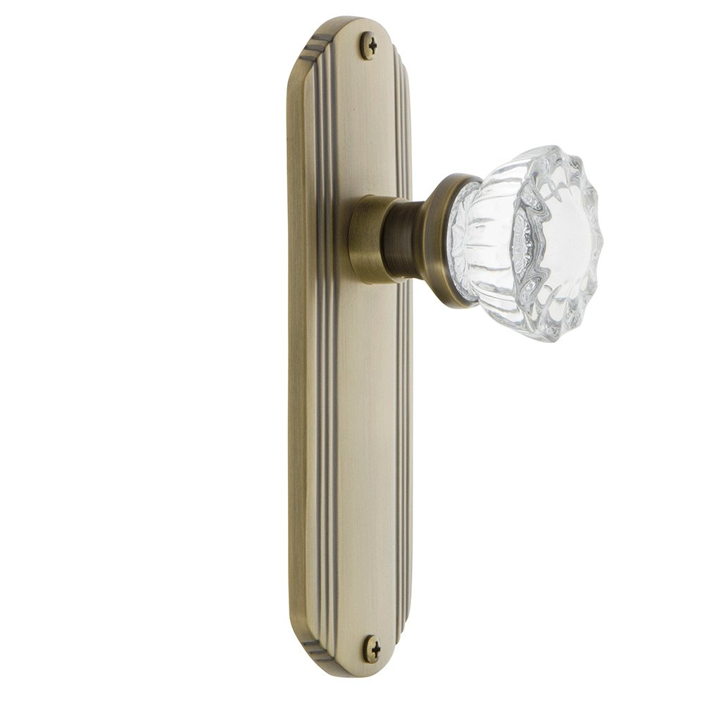 Single Dummy Unlacquered Brass Nostalgic Warehouse Deco Plate with Crystal Glass Knob