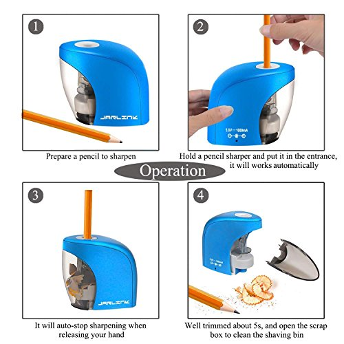 Electric Pencil Sharpener with Auto Feature, Durable and Portable Pencil Sharpener for School Classroom, Home, Office, Studio (Batteries Not Included) by PRINTEMPS (Image #4)