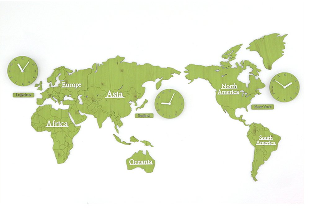 GREEM MARKET(グリームマーケット) 壁掛け時計 掛け時計 ウォール クロック 世界 時計 世界地図 おしゃれ インテリア 北欧 ウッド DIY 品番:GMS01291(グリーン) B077NXSLW3 グリーン グリーン