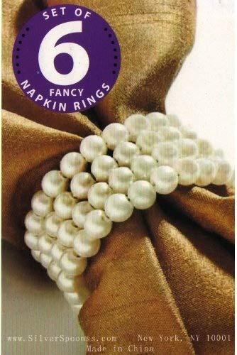 (Set of 6 Round Pearl (Off White) Napkin Rings)