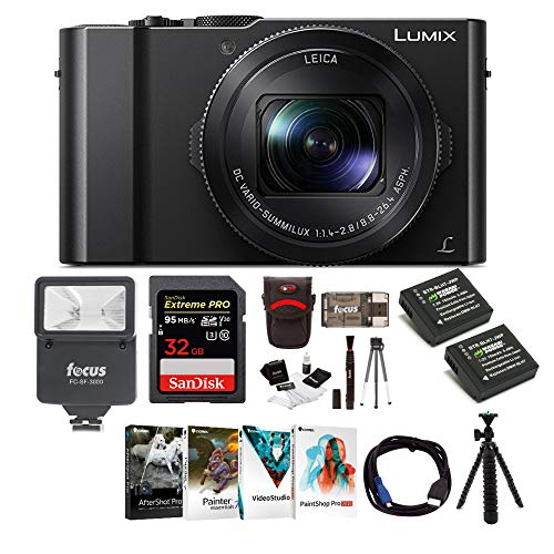 Panasonic LUMIX LX10 20.1MP 4K Digital Camera (Black) with Corel Software Kit, 32GB SD Card, Two Wasabi Power Batteries, Flash, 12-Inch Tripod, Cable and Accessory Bundle (13 Items)