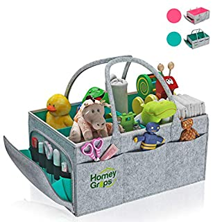 Homey Grips - Baby Diaper Caddy – Infant Portable Organizer with Multiple Pockets for New Parents – Washable Felt Nursery Storage Basket Stacker - Essential Car Travel Bag Tote – Best Baby Shower