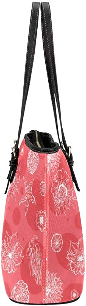 Summer Tote Colorful Water Creature Sea Urchin Leather Hand Totes Bag Causal Handbags Zipped Shoulder Organizer For Lady Girls Womens Shoulder Bag For Boys