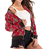 PENGYGY Overcoat for Women Casual,Women's Floral Print Blouse Fashion Baseball Coat Zipper V-Neckline Jacket