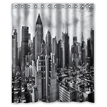 Unique And Generic Gotham City Skyline Shower Curtain Custom Printed Waterproof Fabric Polyester Bath 60