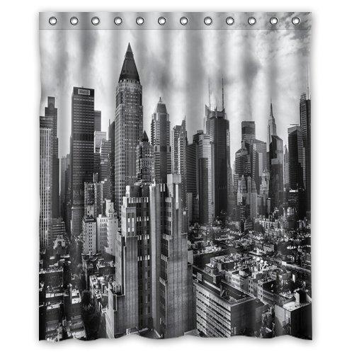 Unique And Generic Gotham City Skyline Shower Curtain Custom Printed Waterproof Fabric Polyester Bath 60