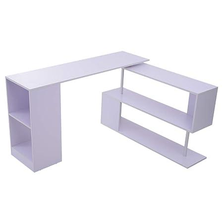 HOMCOM Modern L Shaped Rotating Computer Desk with Shelves – White