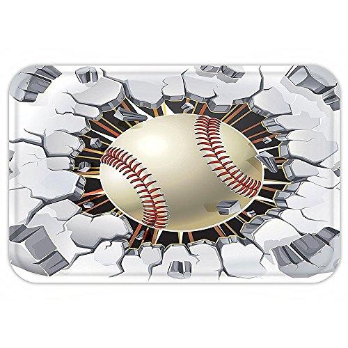 VROSELV Custom Door MatSportDecor Baseball and Old Plaster Concrete Wall Damage Illustration Competition