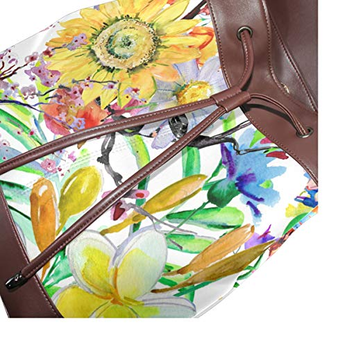 Kvinnor PU-läder blommor blommönster ryggsäck handväska resa skola axelväska ledig dagväska