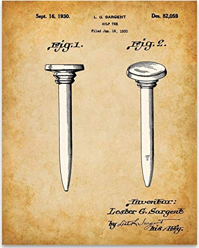 Golf Tee - 11x14 Unframed Patent Print - Makes a Great Gift Under $15 for ()