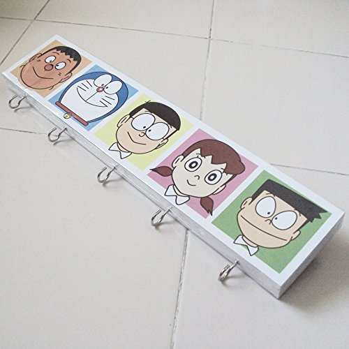 Agility-Bathroom-Wall-Hanger-Hat-Bag-Key-Adhesive-Wood-5-Hooks-Vintage-Doraemon-Friendss-Photo