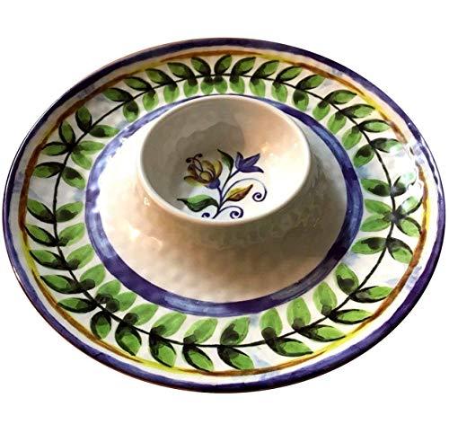 Chips & Salsa Dish Plate Dip Bowl With Tray Salsa Tortilla Dish JUMBO Family Size