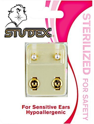 Studex White Pearl Sterilized Piercing Earrings (Earrings Sterilized Studex Piercing)
