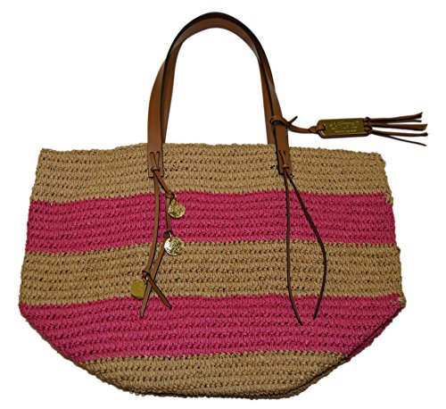 Polo Ralph Lauren Women Straw Handbag Beach Diaper Tote Carryall Bag Beige - Ralph Tote Lauren Pink