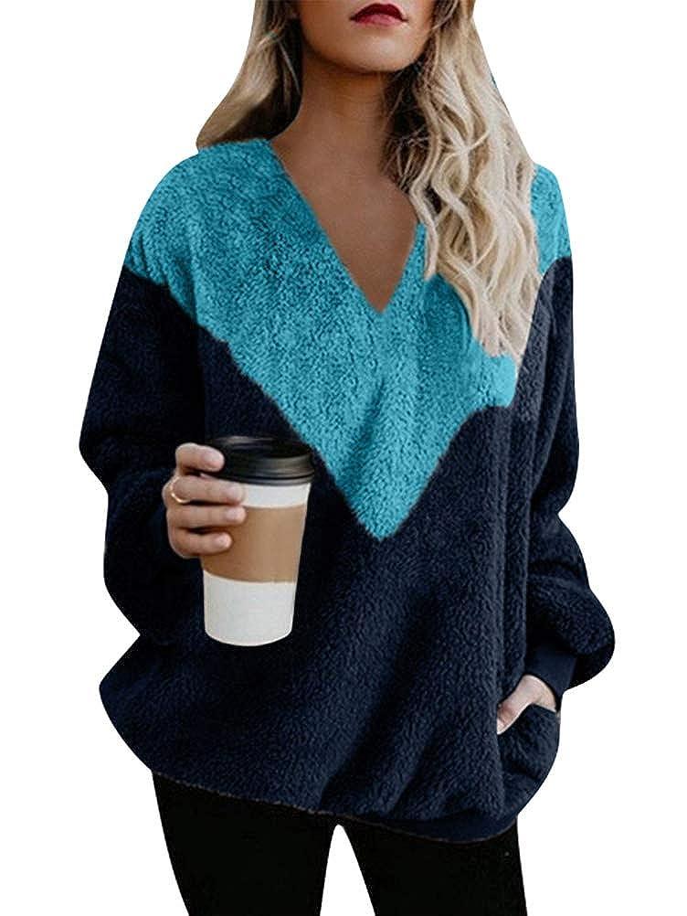 ORANDESIGNE Damen Herbst Winter Kapuzenpullover Kurz Pelzmantel Hoodie Pullover Teddy-Fleece Mantel V-Ausschnitt Langarmshirt Sweatshirt Keine Kapuze
