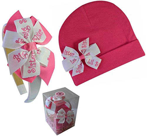 ig Sister Little Sister Matching Hat & Headband Gift Box Set ()