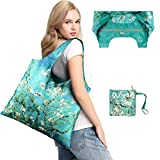 Reusable Grocery Bags with Zipper Closure,Foldable into Zippered Pocket … (Apricot tree)