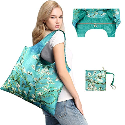 s with Zipper Closure,Foldable into Zippered Pocket … (Apricot tree) ()