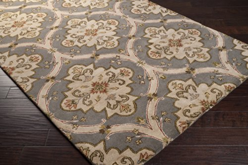 Crowne Beige Rug (Surya Crowne CRN-6026 Classic Hand Tufted 100% Wool Gray 4' x 6' Paisleys and Damasks Area)