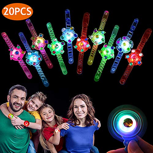 Birthday Supplies For Kids (Birthday Party Favors for Kids Light Up Toys Prizes 20 Pack Glow In The Dark Party Supplies Bulk Hand Spin Stress Relief Anxiety Toys for Classroom Birthday)