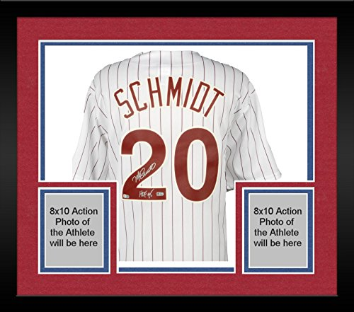 Cooperstown Collection Pin (Framed Mike Schmidt Philadelphia Phillies Autographed Majestic Cooperstown Collection White Pinstripes Jersey with HOF 95 Inscription - Fanatics Authentic Certified)