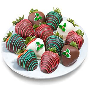 Golden State Fruit 12 Piece Happy Holidays Chocolate Covered Strawberries