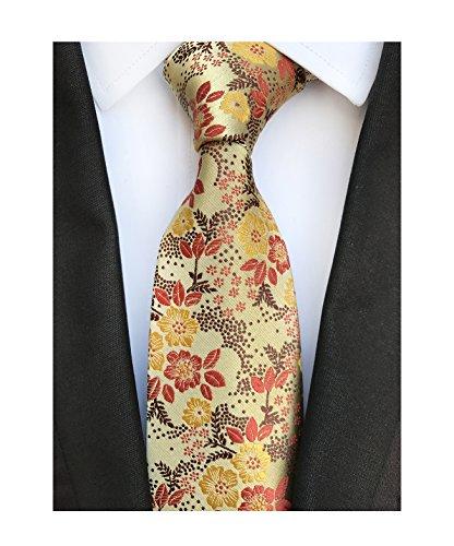 Men's Yellow Brown Self Ties Floral Leaf Silk Paisley Party Suit Dress Neckties