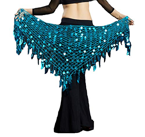Lauthen.S Women Belly Dance Hip Scarf Sequins Mesh Triangle Wrap Skirt Waist Chain(Turquoise)