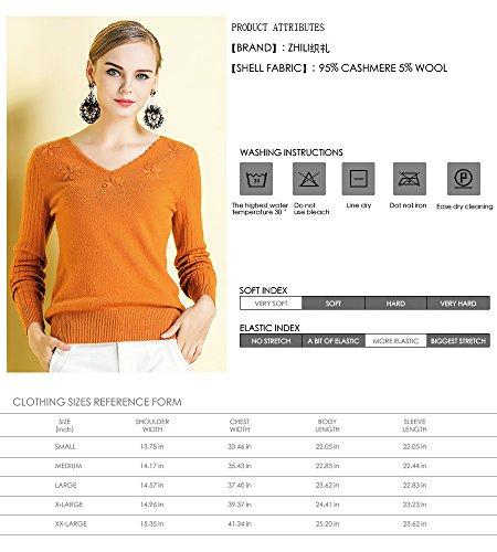 Zhili Women's Basic Slim V-neck Long Sleeve 100% Cashmere Pullover Sweater