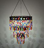 Outdoor Solar Lighted Colorful Mini Chandelier with Faux Crystals and Jewels - 10.5 L x 10.5 W x 24 H