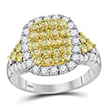 Jewels-By-Lux-14kt-White-Gold-Womens-Round-Canary-Yellow-Diamond-Rectangle-Cluster-Ring-178-Cttw-In-Prong-Sett