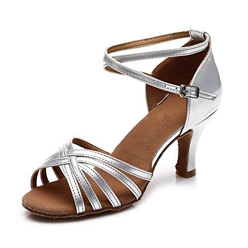 HIPPOSEUS Damen Ausgestelltes Tanzschuhe/Standard Latin Dance Schuhe Satin Ballsaal Modell-DE213 7cm-absatzhöhe Silber