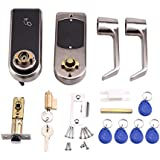 Door Lock Smart Keyless Digital Electronic Touchscreen Keypad Lever Lockset Security Entry Door Code Lock with 5 RFID Card Tags Knob Handle Stainless Steel Left/Right-Free Handed