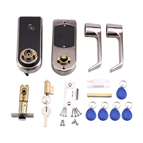 Door Lock Smart Keyless Digital Electronic Touchscreen Keypad Lever Lockset Security Entry Door Code Lock with 5 RFID Card Tags Knob Handle Stainless Steel Left/Right-Free Handed by Fdit