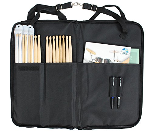 YMC DSB20-BK Pro 15mm Larger Size Drumstick Bag Holder Mallet Bag with a shoulder strap,Drum Key - Black