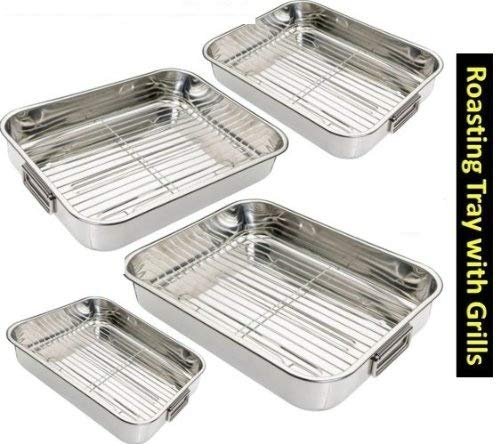 4PC STAINLESS STEEL ROASTING TRAY SET WITH GRILL RACKS Others
