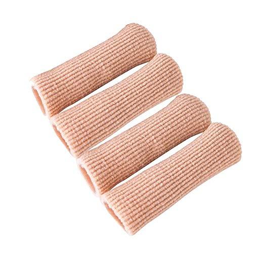 Adjustable Cuttable Gel Toe and Finger Cap Lined Gel Toe Covers Sleeves Protectors Ribbed Knit Toe Caps Silopad Digital Caps 4PCS ()