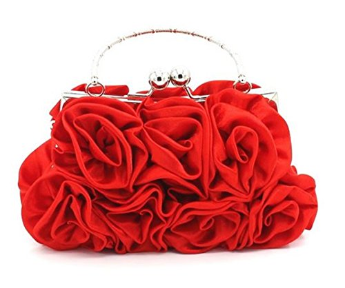 Nodykka Wedding Satin Clutches Floral Rose Embellishment Evening Top-handle Bag Purse by Nodykka