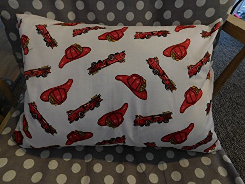 - Firemen Hats, red Trucks PILLOWCASE with pillow, Size 13