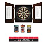 Game Room Guys Angular Cappuccino Steel Tip Dart Board Cabinet Package