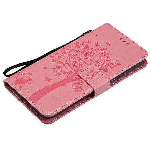 Funda Huawei Mate 10 Lite, SsHhUu Funda PU Piel Genuino [Ranuras para Tarjetas] [Cierre Magnetico] con Lápiz óptico + Acollador para Huawei Mate 10 Lite Maimang 6 Honor 9 G10 5.9 Oro Rose Rosa