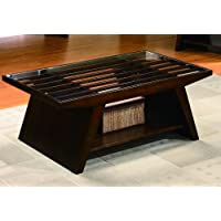 Midori Cherry Brown Cocktail Table With Glass Top By Crown Mark Furniture